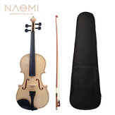 NAOMI 4/4 White Solid Wood Violin W/ Case,Tuner,Bow,Bridge and Strings Set
