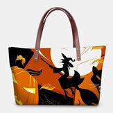 Women PU Leather Neoprene Halloween Style Pumpkin Skull Festival Pattern Large Capacity Mom Bag Student Bag Shoulder Bag Handbag