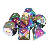 7pcs arco-íris de metal poliédrica dados dnr rpg mtg jogo de RPG com Bolsa