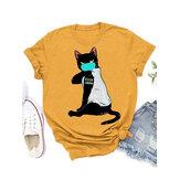 T-shirt casual allentate personalizzate a maniche corte con stampa gatto maschere di cartone animato