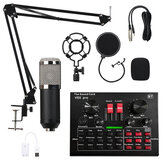 ميكروفون مكثف مع Live Studio Sound بطاقة Recording Mount Boom Stand Mic Kit للبث المباشر K Song