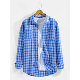 Mens Classic Blue Plaid Lapel Long Sleeve Shirts