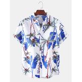 Mens Holiday Tropical Style Coco Árvore Padrão Camisas casuais respiráveis