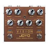 JOYO R-09 Vision Multi-Effect Guitar Pedal Dual Channel Modulation Pedal Support Stereo Input & Output 9 Effects True Bypass