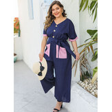 Plus Size Button Kurzarm Causal Full-Length Jumpsuit