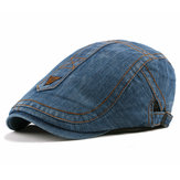 Mens Casual Washed Cotton Beret Hat Cabbie Newsboy Caps