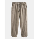 Mens 100% Cotton Elastic Waist Fit Comfy Breathable Straight Casual Pants
