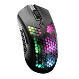 Free-wolf X2 2.4G Wireless Gaming Mouse Hollow Honeycomb Recarregável 12000DPI 7 Botões Ergonomic RGB Optical Mouse for Computer Laptop PC Gamer
