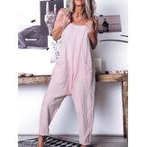 Casual losse gestreepte mouwloze dames pocket harem jumpsuits voor dames