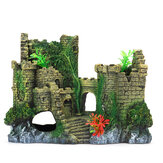Fish Tank Castle Synthetic Resin Simulated Castle Shape With Grass Flower For freshwater and Salt-water Aquaria