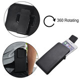 Black Universal PU Leather Magnetic Wallet  Waist Bag With Rotatable Clip For Phone Under 5.5 Inch