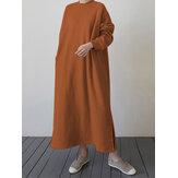 Solid Color Split Hem Loose Sweatshirt Maxi Dress with Side Pockets