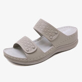 Femmes Solid Color Soft Sole Summer Casual Sandales compensées