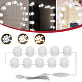 10PC USB Hollywood LED Bulb Vanity Makeup Dressing Table Dimmable Mirror Light Kit DC5V