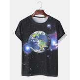 Mens Cotton Funny Earth Space Print Crew Neck Breathable Short Sleeve Casual T-Shirts