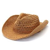 Mens Fedora Straw Hollow Out Cowboy Chapéu Boné de jazz com aba larga e respirável no verão