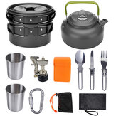 10PCS Ultra-light Aluminum Alloy Camping Cookware Foldable Outdoor Picnic Cooking Set Mini Gas Stove+Kettle+Pot+Frying Pan+Cups