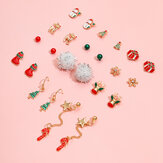 12 Pcs Christmas Ear Stud Set Christmas Stocking Gift Star Wand Elk Tassel Earrings