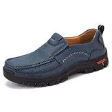 Hommes Rétro Microfibre Cuir Comfy Slip-on Outdoor Chaussures Plates Décontractées Antidérapantes