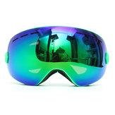 التزلج على الجليد نظارات طبقتين عدسة للدراجات النارية الأشعة فوق البنفسجية الحماية المضادة للضباب الأخضر