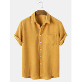 Banggood Design Thin Corduroy Mustard Set Turn Down Collar Chest Pocket Short Sleeve Shirts