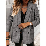Women Plaid Double Breasted Lapel Casual Long Sleeve Thin Blazers