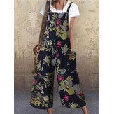 Women Vintage Sleeveless Button Floral Side Pocket Overalls Loose Printing Jumpsuits