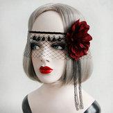Szexi maszk kristály fekete csipke géz piros virág szalag maszkok Halloween nőknek