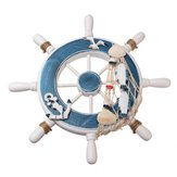 Wooden Boat Ship Steel Ring Wheel Wall Plaque Nautical Beach Tropical Decor