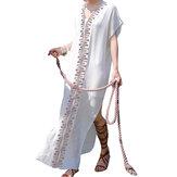 Robe bohémienne à fleurs à col en V et à manches longues Robe longue maxi