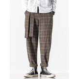Mens Plaid Vintage Zipper Fly Belted Casual Pants