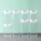 7PCS Airtight Stackable Dry Food Storage Container Cereal Transparent Kitchen