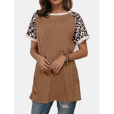 Leopard Patchwork O-neck Short Sleeves Casual T-shirts