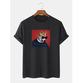 Mens Funny Sunglasses Dog Pattern Kurzarm 100% Baumwolle Lose T-Shirts