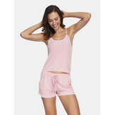 Summer Sleepwear Sling Lace-Trumps Tops with Short Pants 2-Piece Pyžamas