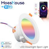 MoesHouse WiFi Smart LED Downlight 7W RGB + CW + WW Karartma Yuvarlak Spot Işık Alexa Google Home AC110-240V ile Çalışın
