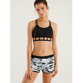 Women Hollow Criss-Cross Print Boyshorts Two Piece Sport Tankinis