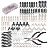 197Pcs Kit de reparo com zíper Kit de resgate com zíper Zipper Pull Rescue com Zipper Instale uma ferramenta de alicates e puxadores de extensão de zíper para roupas Casacos bolsas Bolsas Mochilas