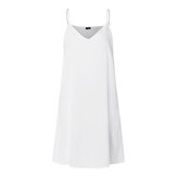 Casual Suspender Solid Sleeve Summer Dress For Women