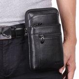 Hombres Piel Genuina Cintura Bolsa Cinturón Bolsa Teléfono de 7 pulgadas Bolsa Negocios Bolsa Hombro Bolsa