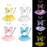 4 Colors Fairy Girls Flashing Wings Tutu Skirt Glow LED Dress Butterfly Wing Wand Headband Costume Holiday Party Decor Cosplay