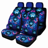 1/7PCS Universal Car Seat Cover Butterfly + Wolf Design Front Seat Full Protect