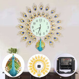 60x60cm Modern Peacock Clock Quartz Living Room Mute Wall Home Office Decor