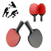 1 paio di racchette da ping-pong in gomma di legno con manico lungo / corto paddle sport all'aria aperta ping pong paddle bat bat con 3 palline
