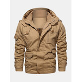 Mens Cotton Zipper Through Pocket Thick Hooded Jackets