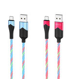 HOCO BU19 2.4A Type C Micro USB RGB LED Light Fast Charging Data Cable For Huawei P30 Pro Mate 30 Xiaomi Mi10 Redmi K30 S20 5G