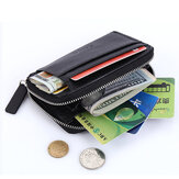 PU Leather Lichee Pattern Wallet 5 Card Slots Card Holder Zipper Coin Purse For Men