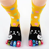 Cute Cartoon Cat Thick Warm Five Toes Calze