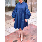 Women Cotton Solid Color Lapel Puff Sleeve Pleated Casual Shirt Dress