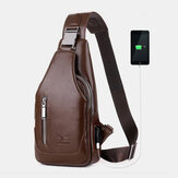 Men PU Leather Business Casual Outdoor Waterproof Multi-carry Shoulder Bag Crossbody Bag Chest Bag With USB Charging